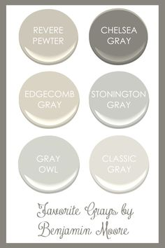 color scheme for our house a. Benjamin Morre Quiet Moments (Glidden Gentle Tide is discontinued, but Quiet Momements is a close match) b. Benjamin Moore Gray Owl c. Benjamin Moore Revere Pewter d. Benjamin Moore Camouflage e. Revere Pewter Paint, Revere Pewter Benjamin Moore, Benjamin Moore Paint, Revere Pewter Living Room, Benjamin Moore Chelsea Gray, Benjamin Moore Stonington Gray, Benjamin Moore Edgecomb Gray, Benjamin Moore Classic Gray, Wall Colors