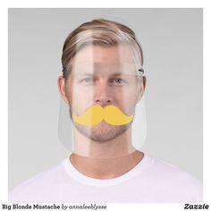 Shop Big Blonde Mustache Face Shield created by annaleeblysse. Clear Face, White Ink, Mild Soap, Moustache, Perfect Match, Anna Lee, Online Gifts, Big, Colorful