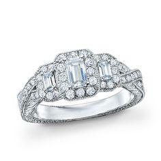 1 CT. T.W. Certified Emerald-Cut Diamond Three Stone Ring in 14K White Gold (H-I/SI2-I1)