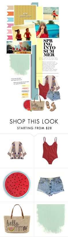 """""""AOA 'Good Luck'"""" by chomiczynka ❤ liked on Polyvore featuring Madewell, Dorothy Perkins, Levi's, Stuart Weitzman and Straw Studios"""