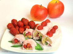 фруктовые роллы с клубникой, сладкие роллы, рисовая бумага