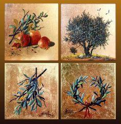 painting on canvas Prophetic Art, Byzantine Art, Fruit Art, Paintings I Love, Art Techniques, Painting On Wood, Pomegranate, Creative Art, Folk Art
