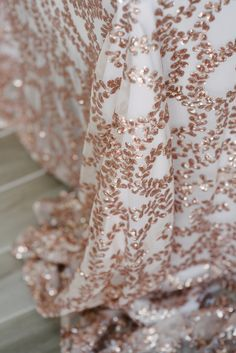Fabulous sequin tablecloths, in the most unique and exquisite design - rose gold sequin vine on a sheer backing If you scroll through…