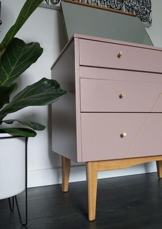 SOLD - Refinished Mid Century Vintage Retro Lebus Chest of Drawers Vanity Unit with Removeable Tilting Mirror in Sulking Room Pink and Gold Pink Furniture, Painted Furniture, Furniture Design, Painted Dressers, Painted Chest, Plywood Furniture, Chair Design, Design Design, Modern Furniture