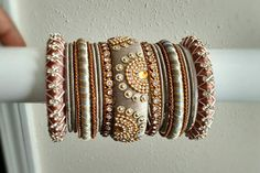 Indian Silk Thread Bridal Bangles Set of 38 Rose Gold and Silk Thread Bangles Design, Silk Thread Necklace, Silk Bangles, Beaded Necklace Patterns, Bridal Bangles, Thread Jewellery, Jewelry Patterns, Bridal Jewelry, Bangle Set