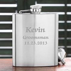 """Personalized Stainless Steel Pocket Flask - Wedding Party Design by PersonalizationMall.com. $11.94. Reminiscent of classic pocket flasks manufactured in the golden era of the 20's and 30's.Our Wedding Party© Stainless Steel Pocket Flask features intricate detail in the brushed finish base with convenient, attached cap for easy open & close and funnel, so not a drop is missed. Holds 8 fluid ounces of your favorite beverage. Measures 6"""" x 4"""" x 1 1/4"""". We then skillf..."""