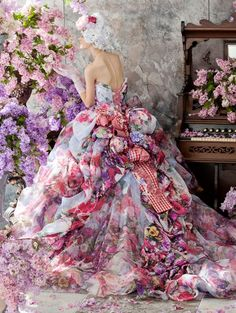 Romantic Flowery dress. Baroque & Rococo style art representation. Pastel colors.