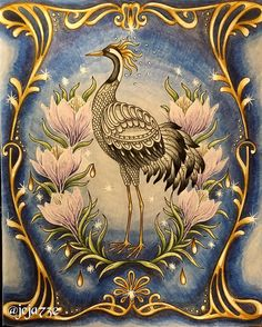 I absolutely loved coloring this crane from #tidevarv #hannakarlzon #hannakarlzontidevarv #coloring #coloringforadults #fabercastell #polychromos