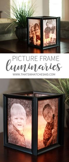 DIY Picture Luminaries are perfect for any occasion, centerpiece or even just for your home decor! Supplies all from the dollar store too! So easy and inexpensive!