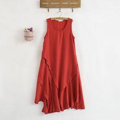 dadb989c3c 2017 Summer Women Solid Dress O-Neck Cotton Linen Sleeveless Vintage  Chinese Style Casual Harajuku Asymmetric Length Loose Dress