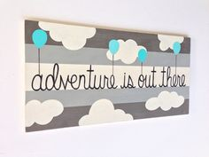 Adventure is Out There Wooden Nursery Sign von SweetBananasArt