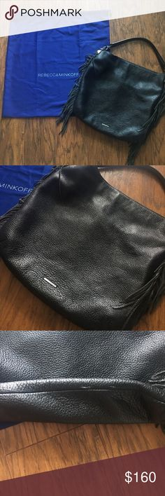 Rebecca Minkoff Clark Fringe This is gently used Rebecca Minkoff Clark Fringe Handbag. Black leather with fringe on both sides. Some minor scuffing in bottom as shown in photo. Can be worn with or without crossbody strap as shown in photo. Rebecca Minkoff Bags Crossbody Bags