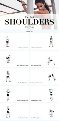 The best exercises for sexy, shapely and toned shoulders! /fitness-tips/best-shoulders-exercises-sexy-shapely-toned/Sexy, shapely and toned shoulders are the perfect accessory to a sleeveless shirt or dress. Training the muscles that support this joi Fitness Workouts, At Home Workouts, Fitness Motivation, Fitness Abs, Hiit, Best Shoulder Workout, Shoulder Muscles Workout, Boulder Shoulder Workout, Bicep Workout Women