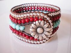 Turquoise Jewelry Southwestern Cuff Red and Turquoise Cuff Bracelet Leather Beaded Cuff