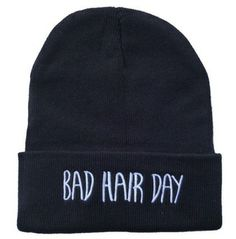 """Bad Hair Day Fashion Beanie Cap  Cool Beanie Hat for those """"bad hair days""""  features an embroidery text on front"""