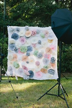 folded tissue poms + rosettes for the photo booth backdrop - DIY Charlotte wedding from Alively Photography Wilsson Wilsson Gideon Diy Photo Booth Backdrop, Photo Props, Backdrop Ideas, Photo Backdrops, Backdrop Background, Tissue Pom Poms, Spring Photos, Vintage Party, Photography Backdrops