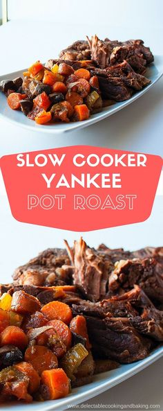 One of my all time favorite easy comfort food meals, this Slow Cooker Yankee Pot Roast recipe turns out fall-apart good! The broth keeps it nice and moist, and be sure to save the broth for your leftovers as it makes a rich and delicious au jus for sandwi