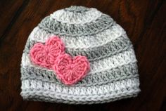 Valentine Striped Crochet Hat with Hearts by Loopy… . Crochet for everyone Crochet Cap, Crochet Baby Hats, Crochet Beanie, Love Crochet, Learn To Crochet, Crochet For Kids, Baby Knitting, Knitted Hats, Crochet Crafts