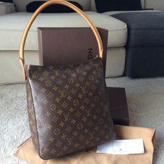 a9b8a2c72e2d9 100% Originale Borsa a Spalla Louis Vuitton Looping GM Monogram Shoulder  Handbag Shoulder Handbags
