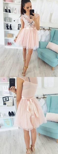 cute crew cap sleeves short pink homecoming dress with appliques sash Dresses Short, Hoco Dresses, Prom Dresses Online, Cheap Prom Dresses, Dresses For Teens, Trendy Dresses, Homecoming Dresses, Girls Dresses, Party Dresses