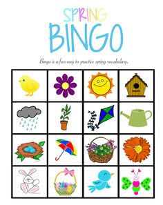 Enhance your students' vocabulary with #bingo & make this #spring a memorable one. https://www.teachervision.com/spring/printable/29816.html