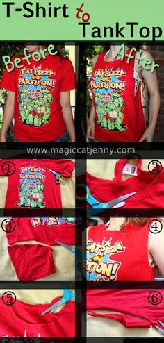 How To Turn a T-Shirt into a Tank Top - DIY  MagicCatJenny