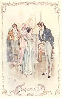 """C.E. Brock watercolor Illustration from Persuasion by Jane Austen. """"In spite of the formidable father and sister in the background"""" ~ Volume II, Chapter VIII (20)"""