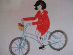 bicycle girl embroidery from comfortstitching