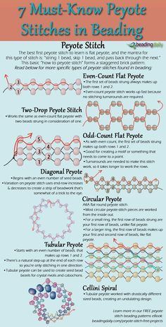 how to make peyote stitch the simple way with this FREE infographic that shows 7 must-know peyote beading stitches.Learn how to make peyote stitch the simple way with this FREE infographic that shows 7 must-know peyote beading stitches. Beading Patterns Free, Beaded Jewelry Patterns, Weaving Patterns, Beading Ideas, Embroidery Patterns, Beading Supplies, Peyote Stitch Patterns, Free Seed Bead Patterns, Loom Bracelets
