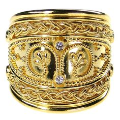 Damaskos Rope Framed Diamond Iraklion Tapered Ring, 18k Gold and Diamonds. http://www.athenas-treasures.com/products/Damaskos-Rope-Framed-Diamond-Iraklion-Tapered-Ring.html. This and more handmade Greek jewelry at Athena's Treasures: www.athenas-treasures.com