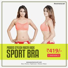 b0c3e7f5f21 Padded stylish racer back sport bra