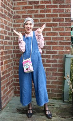 Vintagonista Vintage Denim culotte dungarees, wide legged cropped  overalls, candy cane striped ruffled blouse, vintage hijab style, vintage  style,