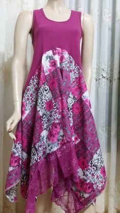 Free shipping nebal qadora Upcycled Boho  Bohemian Top Gypsy Tunic  8-10-12 #Handmade #Tunic #Casual