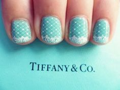 Tiffany nails with lace and tiffany blue Love Nails, How To Do Nails, Pretty Nails, My Nails, Style Nails, Gorgeous Nails, Nail Art Designs, Nail Design, Tiffany Blue Nails