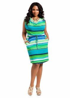 552608c4a9aea Ashley Stewart Women s Plus Size Striped Drape Neck Dress Lime Rickey 18 20  Next Dresses