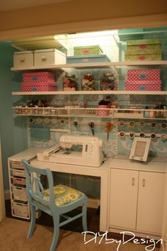 shoe boxes covered in contact paper, contact paper in cabinets, wire drawers, sewing desk