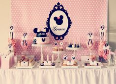 Minnie Mouse baby shower or little girl's birthday party theme ideas. Minnie Birthday, 1st Birthday Girls, 2nd Birthday Parties, Birthday Ideas, Birthday Table, Mermaid Birthday, Minnie Mouse Theme, Pink Minnie, Mickey Mouse