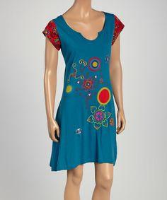 Love!!!!!!! Royal Handicrafts Blue & Red Floral Notch Neck Dress by Royal Handicrafts #zulilyfinds