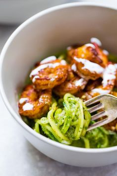 15 Minute Spicy Shrimp with Pesto Noodles - a light, healthy, quick and easy meal with zucchini noodles! Light, flavorful, nutritious, and full of flavor. | pinchofyum.com