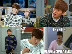 """Even Lee Min Ho can't make these look good.   Watch the ugly sweater party in """"Heirs"""""""