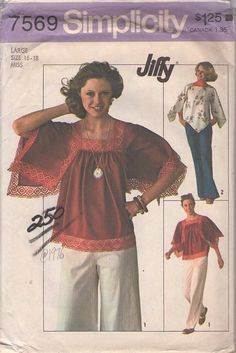 MOMSPatterns Vintage Sewing Patterns - Simplicity 7569 Vintage Sewing Pattern The Fabulous Jiffy Angel Handkerchief Sleeve Hippie Blouse, Top, Shirt Size S. I had this pattern back in the day and actually made tops in both styles! Hippie Tops, Boho Tops, 70s Hippie, Retro Pattern, Top Pattern, Hippie Shirt, Vintage Dress Patterns, Angel Sleeve, Square