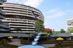 Watergate Complex - Washington DC; in addition to the famous hotel, the complex contains office buildings and luxury condos where famous figures such as Bob & Elizabeth Dole, Condoleeza Rice, and Ruth Bader Ginsburg have lived.