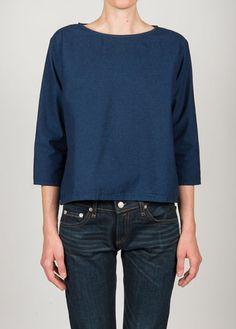 Me & Arrow - Basic 3/4 SleeveTop Color -Indigo 100% Cotton Indigo dyed Made in USA @charlieandlee