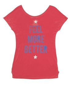 Feel More Better:  Low-Back Scoop - A Word About Caring For Your Feel More Better StoryTees   Each Feel More Better StoryTee is made with 100% Tencel, an Eco material.  You should machine wash in cold with like colors, drying your StoryTees on low, or hanging them dry.  Love them as they love you.   Any questions, ideas, comments, things you just want to get off your chests?  Hit us at TalkToUs@FeelMoreBetter.com.