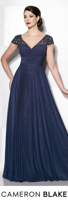 Cameron Blake Fall 2015 - Style No. 215641 cameronblake.com #eveninggowns #motherofthebridedresses #navyeveninggowns