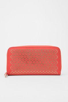 Kimchi Blue Lasercut Zip-Around Checkbook Wallet