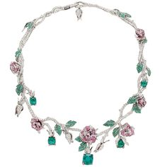 White gold necklace with diamonds, emeralds and pink sapphires
