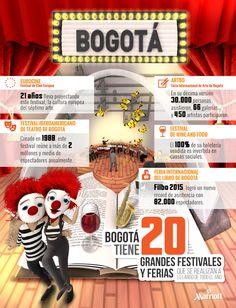 Bogotá es el hogar de múltiples eventos culturales que representan los intereses,  gustos y costumbres de su población. Así que para tus próximas vacaciones, date la oportunidad de conocer la amplia oferta cultural que esta increíble ciudad tiene para ti.  #ThingsToDoIn #Bogotá #Colombia #Travel #Turismo #Tourism #HotelesMarriott #Marriott #Infografía #Festivales
