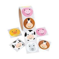 100 Farm Stickers Farm Party Favors Invitation Seals