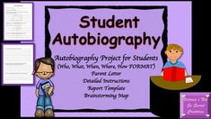 Included:~Autobiography Report Template (created in a format students can understand and spark their interest)~Detailed Instructions with images / illustrations~Parent Letter (explaining assignment)~Prewriting Brainstorming Map Thanks for Viewing!I appreciate YOU!!!Victoria's Not So Secret Creations